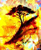 Fire flames background and tree, LAVA structure. Computer collage. Earth Concept. Orange, yellow and black color.