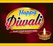 happy Diwali Celebration Text Background