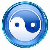 yin yang symbol icon blue