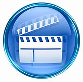 movie clapper board icon blue