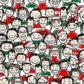 Christmas party with group of people, seamless pattern