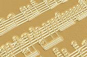 music notes in gold