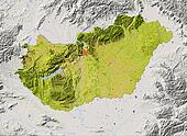 Hungary, shaded relief map