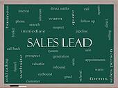 Sales Lead Word Cloud Concept on a Blackboard