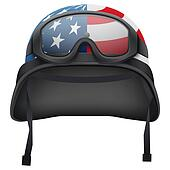 Military American helmet and goggles. Isolated on white background. Bitmap copy.