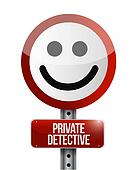 private detective street smile sign concept