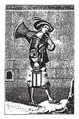 Pastry chef in 1630, vintage engraving.