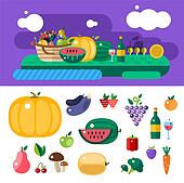 Harvest time food icons illustration