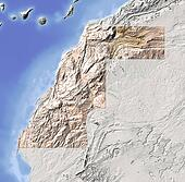 Western Sahara, shaded relief map