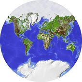 World map in a circle