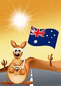 kangaroo with Australian flag