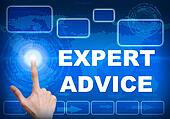 Touch screen digital interface of expert advice concept