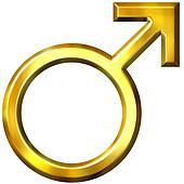 3D Golden Male Symbol