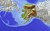 Alaska, shaded relief map