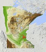 Minnesota, shaded relief map