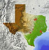 Texas, shaded relief map