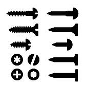 Screws, nuts and nails icons set