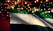 United Arab Emirates National Flag Light Night Bokeh Abstract Background