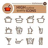 kitchenware line icons