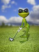 Illustration frog golfer on a green lawn