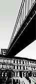 City scene with bridge