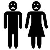 Man and woman silhouette - sad faces