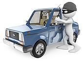 3D white people. Car thief