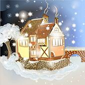 Evening Christmas scene with house in snow