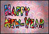 Happy new year colorful loom bands multi color