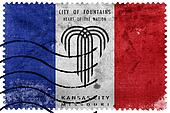 Flag of Kansas City, Missouri, old postage stamp