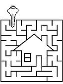 Maze home as a symbol of house hunting puzzle