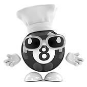 3d 8 ball dressed as a chef