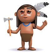 3d Native American Indian boy raises his arms