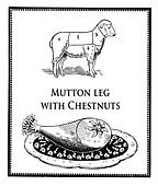 Vintage food, roasted mutton leg and mutton table with numbered sections