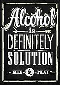 Poster joke Alcohol chalk.
