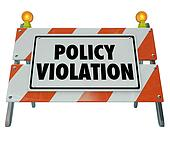 Policy Violation Warning Danger Sign Non Compliance Rules Regula