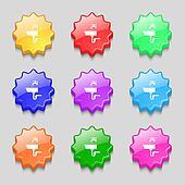 Washbasin icon sign. Symbols on nine wavy colourful buttons.