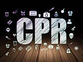 Healthcare concept: CPR in grunge dark room