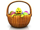 Cartoon chicken in a basket with eggs