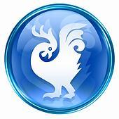 Cock Zodiac icon blue
