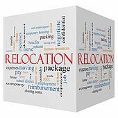 Relocation 3D cube Word Cloud Concept