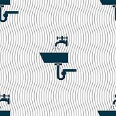 Washbasin icon sign. Seamless pattern with geometric texture.