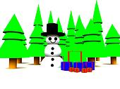 Snowman In Forest