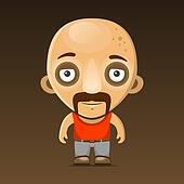 Bald Man Cartoon Character with Mustache.