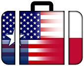 Suitcase with USA and Texas State Flag