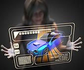 woman and hologram with sport car