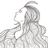 Profile of a beautiful girl with long haughty intricately curled hair. Black and White.