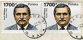 two old post stamps with Lech Walesa portrait