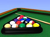 Billiard table closeup