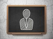 Law concept: Business Man on chalkboard background